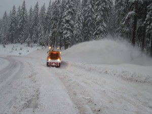 Snow blankets U.S. 20 in Oregon. Photo by the Oregon Department of Transportation.
